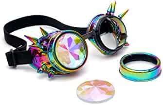 e5cf075b74e4 FOCUSSEXY Steampunk Goggles Kaleidoscope Rave Rainbow Crystal Lenses Glasses