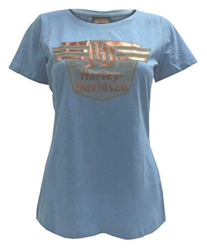 Harley-Davidson Women's Vintage Foil Script Short Sleeve Tee, Light Blue (S) (Script Womans Shirt Foil)