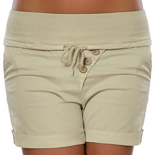 Sumeimiya Women's Capri Shorts, Fashion High Waist Bandage Pants Summer Hot Pants Trousers Beige