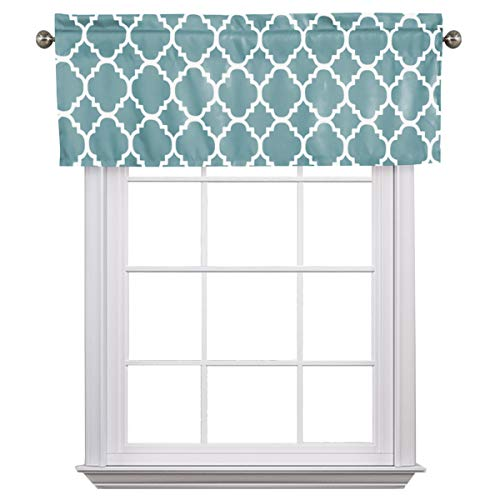 Flamingo P Moroccan Grayish Blue Valance Curtain Extra Wide and Short Window Treatment for for Kitchen Living Dining Room Bathroom Kids Girl Baby Nursery Bedroom 52