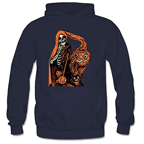 Personality Men's Shrouded Skeleton Pumpkin Long Sleeve Hooded Sweatshirt Gloomy XL Navy