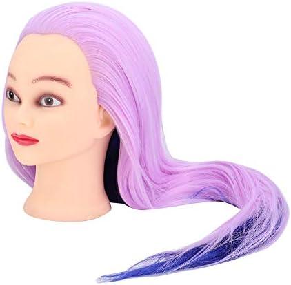 理髪トレーニング、ブルーパープル理髪練習スタイリング編組トレーニングヘッドマネキンヘッド髪