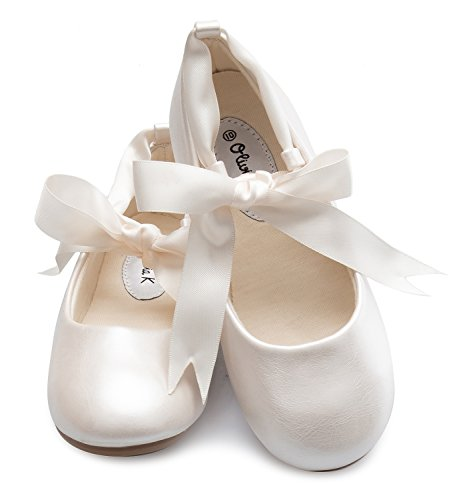 Ballerina Flower - OLIVIA K Girls Adorable Ballerina Mary Jane Flats Ribbon Tie Shoes