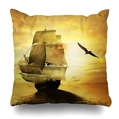 Ahawoso Throw Pillow Cover Blue Ship Sailboat Against Abstract Nature Sail Boat Color Holiday Design Home Decor Pillowcase Square Size 18