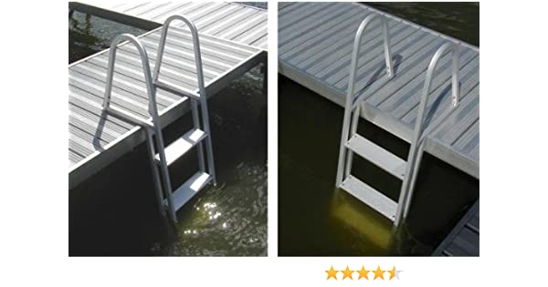 Amazon.com : 4 Step Fixed Aluminum Pontoon Dock Swimming Pool Ladder : Sports & Outdoors