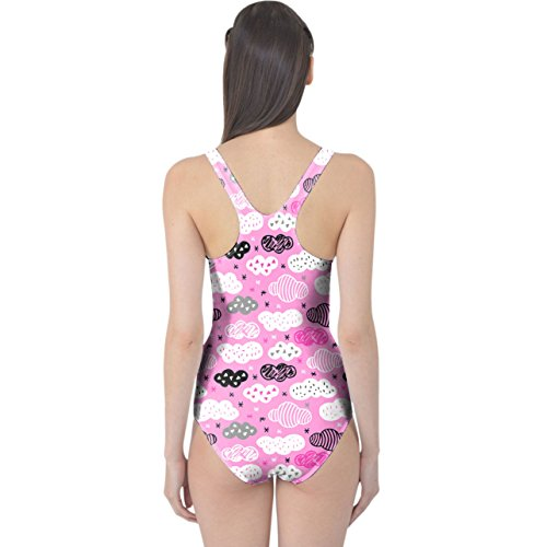 3e4d2541d3e9 Sweet Dreams Geometric Clouds Women s Swimsuit Badeanzug XS-3XL Hot Pink  OoVv6iGcos ...
