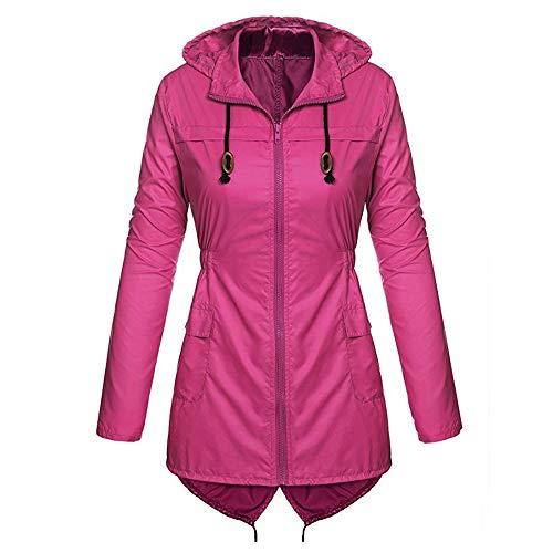 Poche Trench De Élégant Susenstone Femme Vif Waterproof Raincoat Léger Manteau Poids Imperméable Rose Pluie Jacket À Capuche qq4vA