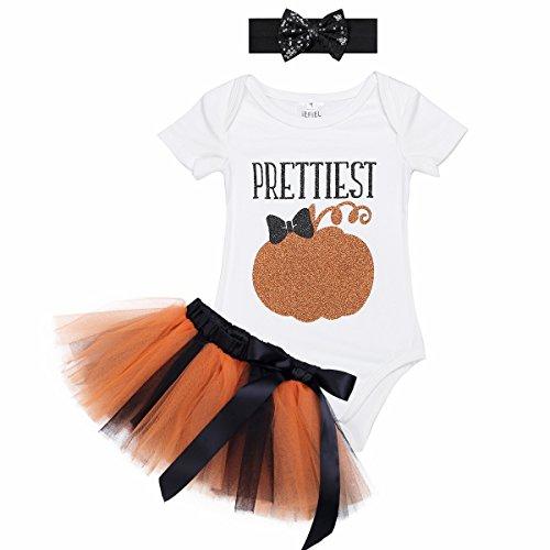 iiniim Infant Baby Girls Halloween Pumpkin Outfits Romper with Tutu Skirt and Headband Ivory short sleeves Romper 0-3 (Halloween Pettiskirt Outfits)