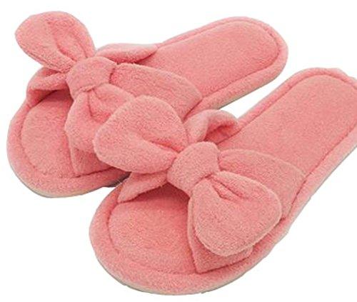 Blubi Dames Solide Strikken Pluche Pantoffels Zachte Slaapkamer Pantoffels Roze