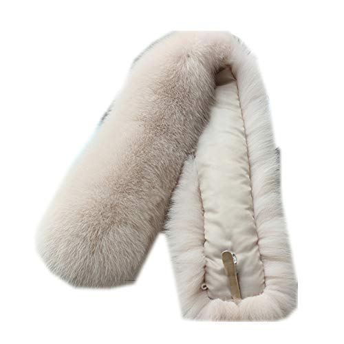 Gegefur Female genuine fox fur collar winter scarf coat can be removed with hat collar warm scarf solid color shawl (50cm, white-1)