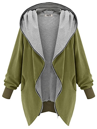 Up Coat Green Hooded Zip Parka DJT Top Cardigan Loose Long Army Women's Ladies Jacket tRxqOwp6a