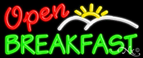 (13x32x3 inches Breakfast Open NEON Advertising Window Sign)
