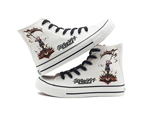 Serafino Della Fine Anime Scarpe Di Tela Cosplay Scarpe Sneakers Nero / Bianco Bianco 5