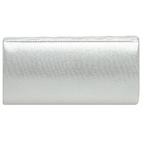 Modern with Lozenge Bag Elegant Clutch White Ladies Pattern Evening CASPAR Glitter TA396 6pqwn8U