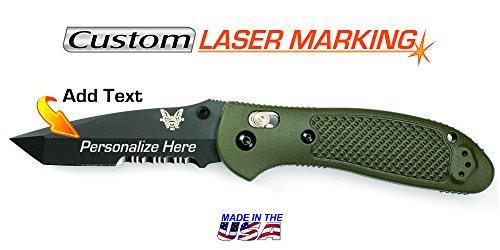 Custom Laser Engraved Benchmade Griptilian Knife - Olive Handle, Black Tanto Blade, Serrated Edge ()
