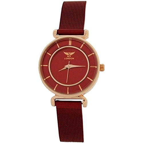 NY London Ladies Rosetone Analogue Red Dial & Mesh Bracelet Strap Watch PL7424