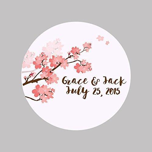 CUSTOM Thank You Cherry Blossom Wedding Mason Jar Spice Jar Jam Jar Favor Labels, Wedding Stickers (Blossom Spice)