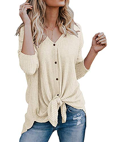 Roselux Womens Henley Shirts Long Sleeve Waffle Knit Tunic Blouse Tie Knot Button Down Loose Fitting Tops (Beige,S) ()