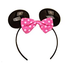 """Officially Licensed Disney Junior Party """"Set the Scene """" Deluxe Plastic Minnie Mouse Ears. Headband with pink Bow"""