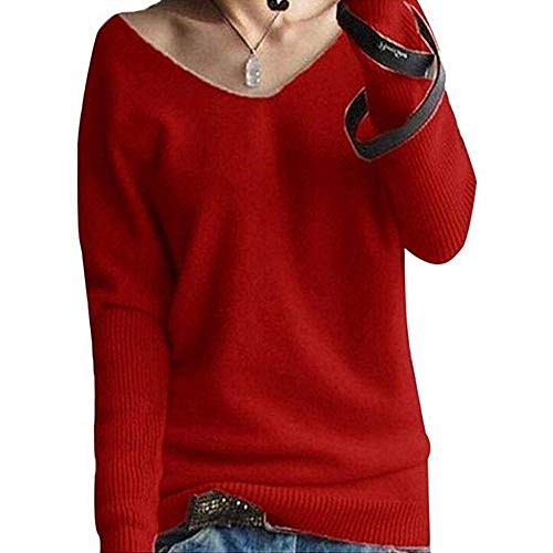 Clearance Sale ! Kshion Women's Sweater Blouse Autumn Winter Fashion V-neck Batwing Sleeve Solid Knitted Pullover Shirt Tops (Red, L) from Kshion_Women blouse