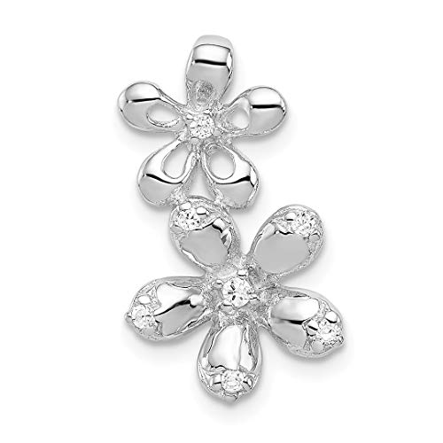 925 Sterling Silver Cubic Zirconia Cz 2 Flower Necklace Chain Slide Pendant Charm Gardening Fine Jewelry For Women Gift Set
