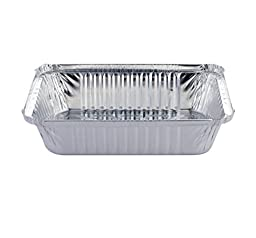 DOBI Takeout Pans - Disposable Aluminum Foil Take-out Containers with Lids, Standard Size (Pack of 50)