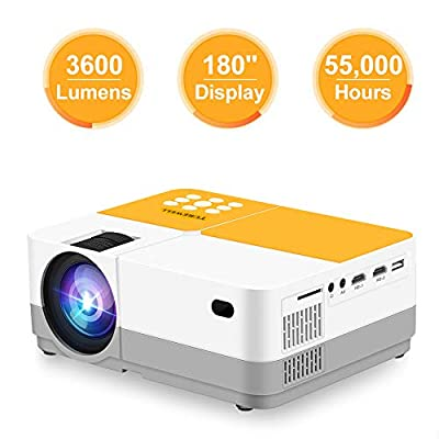 """TUREWELL H3 Projector Video Projector 3600 Lumens Native 720P LCD Mini Projector 180"""" 55000 Hours Support 2K HDMI/VGA/AV/USB/SD Card/Headphone Compatible with Fire TV Stick/Home Theater/PS4"""