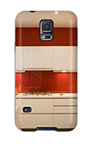 Protective Tpu Case With Fashion Design For Galaxy S5 (modern Kitchen With White Cabinets And Red Wall)
