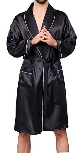 - YIMANIE Mens Silk Satin Robe Lightweight Spa Bathrobe with Shorts Nightgown Long Sleeve House Kimono Luxurious Bathrobe Set