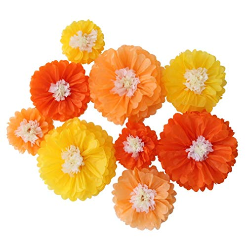 Mybbshower Ombre Orange Paper Flowers Fall Wedding Bakcdrop Thanksgiving Autumn Halloween Party Bridal Shower Decoration Pack of 9 -