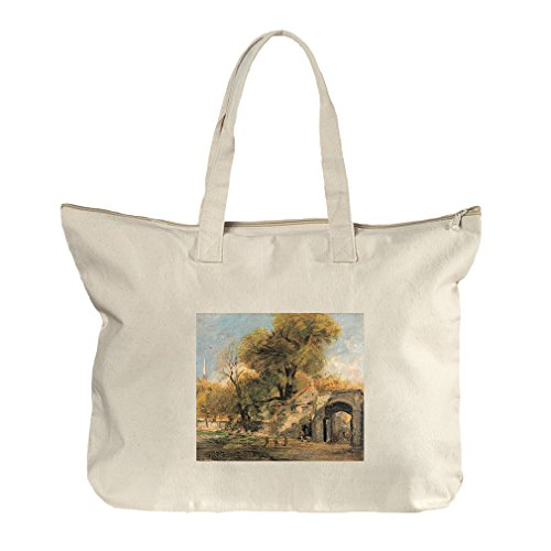 Harnham Gate, Salisbury (Constable) Canvas Beach Zipper Tote Bag - Salisbury Center At