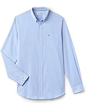 Men's Blue Gingham Checked Men's Long Sleeve Shirt in Size 45-XL-2XL Blue