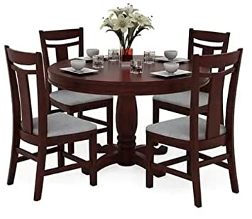 340910f79b Shilpi Handmade 4 Seater Wooden Dining Round Shape Table Set Cushioned  Cover Seating Chair: Amazon.in: Home & Kitchen