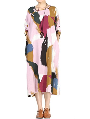 Pink Caftan - Mordenmiss Women's Feather Printed Loose Long Dress with Pockets XL Pink
