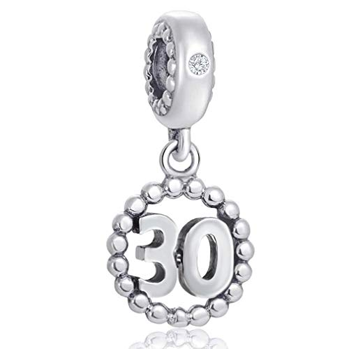 Number Bracelet Charms - 925 Sterling Silver Pendants/Beads Fit Pandora Charm Bracelets, Necklace, and European Snake Chain, Dangling/Dangle Charm for Birthday (Number 30)