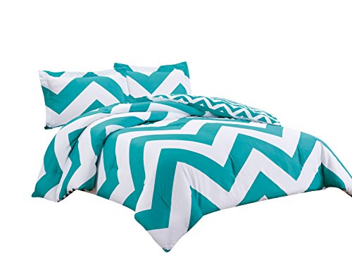 Chezmoi Collection 2-Piece Reversible Chevron Zig Zag Duvet Cover Set with Corner Ties (Twin, Teal)