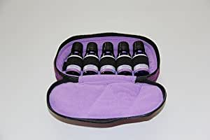 5-Bottle Purse-size Essential Oil Carrying Case - Deep Purple with Lavender interior