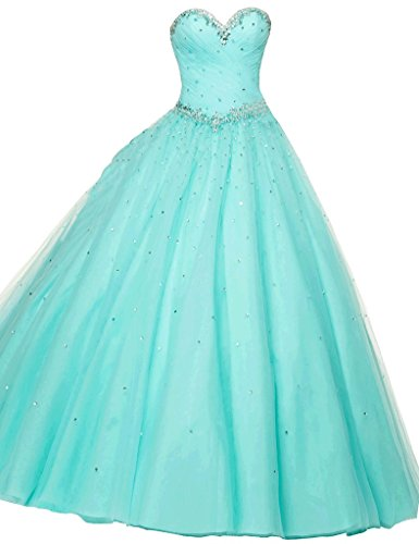 Dearta Women's A-Line Sweetheart Quinceanera Dresses Tiffany Blue US 8
