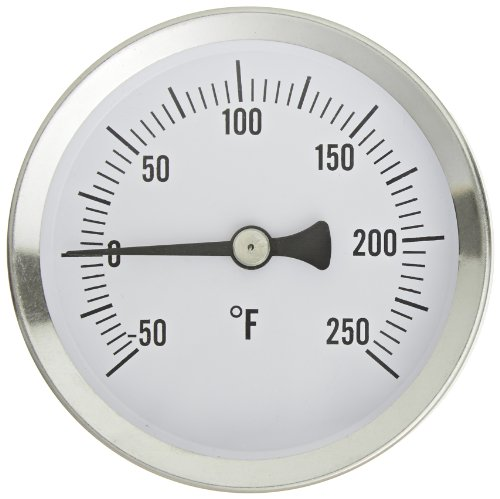 PIC Gauge B2SS-A 2.5'' Dial Size, -40/120°F, Surface Mount, Straight, Lower Mount Connection, Stainless Steel Case, 316 Stainless Steel Stem Bimetal Thermometer by PIC Gauges