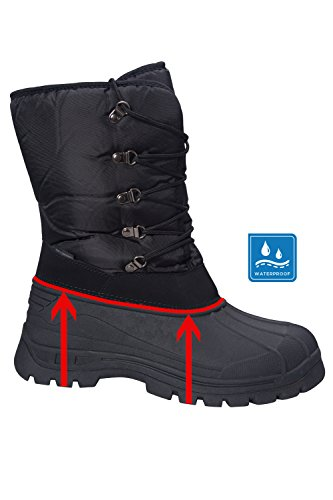 Durevole del Mens dell'aratro Breathable Sistema Neve Caricamenti di Warehouse Snowproof Mountain della Nero di del Tessile Mens Plough Snowboots Caricamenti Sistema wnx4OCSHq