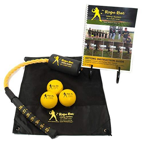 Rope Bat - The Ultimate Rope Bat Hitting System w/ 3 Smushballs - Baseball & Softball Swing Trainer, Training Tool, Batting Aid