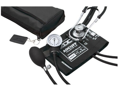 ADC Pro's Combo II SR Adult Pocket Aneroid/Scope Kit with Prosphyg 768 Blood Pressure Sphygmomanometer and Adscope Sprague 641 Stethoscope with Nylon Carrying Case, Black by American Diagnostic