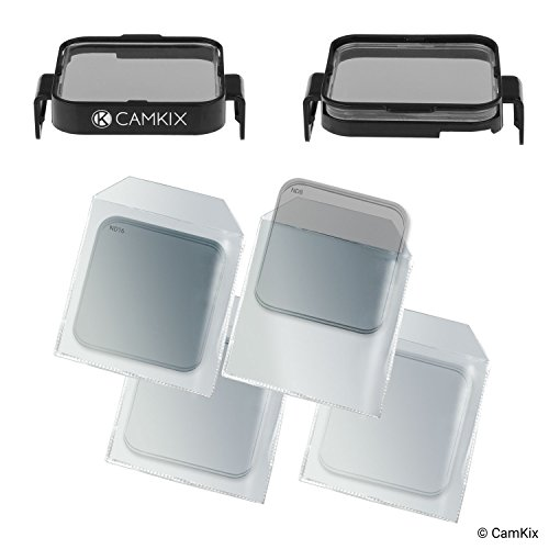CamKix Cinematic Filter Pack Compatible with GoPro HERO5 / HERO4 Session, Clicks onto The Frame, 4 Neutral Density Filters (ND2/ND4/ND8/ND16). Perfect for Aerial Footage