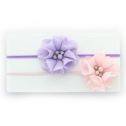 My Lello Infant Baby/Toddler Girls Flower Headbands Chiffon Beaded Flower Skinny Elastic 2 pack (Light Lavender/Light Pink) (Lavender Headbands Girl)