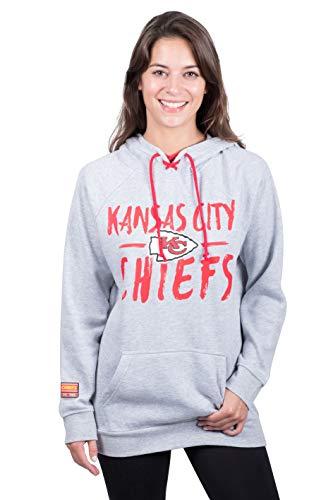 NFL Kansas City Chiefs Women's Fleece Hoodie Pullover Sweatshirt Tie Neck, Small, Heather ()