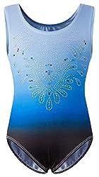 Blue Gymnastics Leotards With Shiny Diamond for Girls