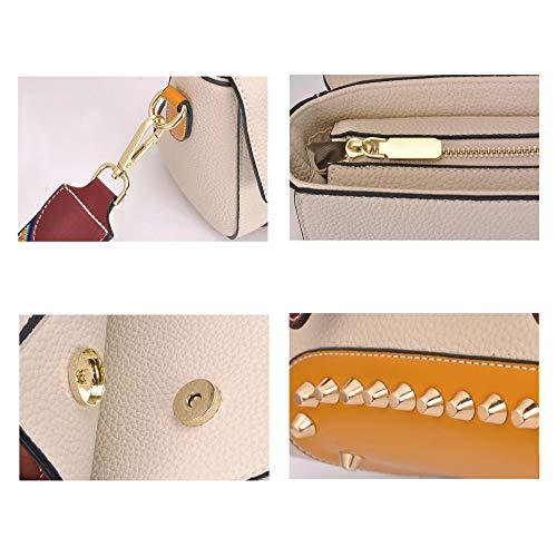 Tachas Pequeño Bolso Moderno De 15cm Diseñador Para Con Hombro Damas 23cm Nuevo Pu Mujer Wuzhi Beige X Cuero 10cm Bg0nSS
