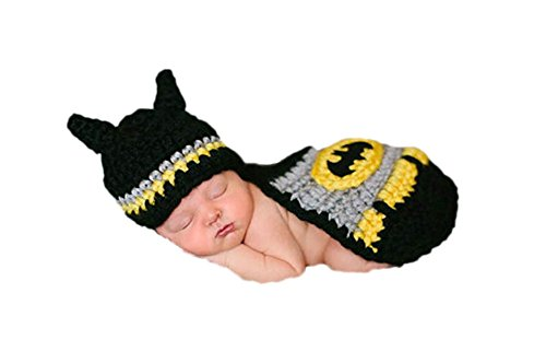 [I'MQueen Handmade Crochet Newborn Infant Costume Set Baby Boy Outfit Photo Props] (Batman Costumes Infant)