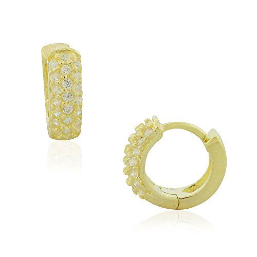 925 Sterling Silver Yellow Gold-Tone Clear CZ Hoop Huggie Earrings, (Gold Tone Huggie Earrings)