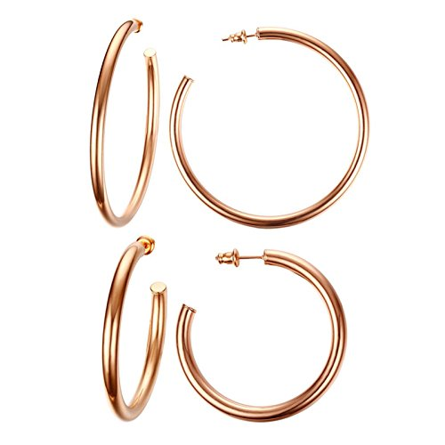Two Pairs Stainless Steel Rose Gold Plated Minimalist Rounded Half Hoop Earrings for Women Girl,42MM/63MM